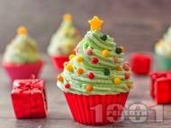 Къпкейкове с шоколад, какао, канела и джинджифил за Коледа и с лесна декорация елха